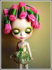 Preparing for her photoshoot... (Angel~Lily) Tags: new pink green forest moss doll photoshoot more fairy mohair 17 blythe rollers coming custom takara soon prep reroot angel~lily