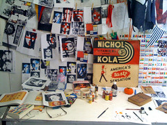 Studio Desk july10 (Pam Glew) Tags: uk blue red white inspiration signs art shop wall work studio stars jack brighton mood cola handmade space board union progress flags fabric pam denim material kola glew