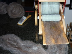 Wool on the carder intake tray