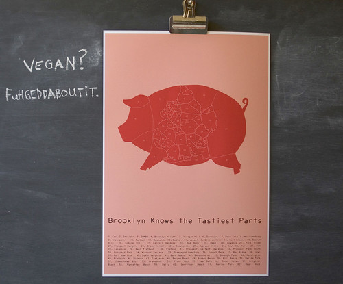 Brooklyn Knows the Tastiest Parts - meat map poster