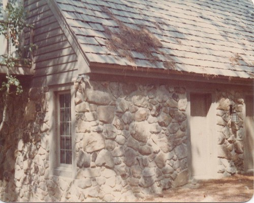 finished house made entirely of stone in Kightdale, North Carolina from rear