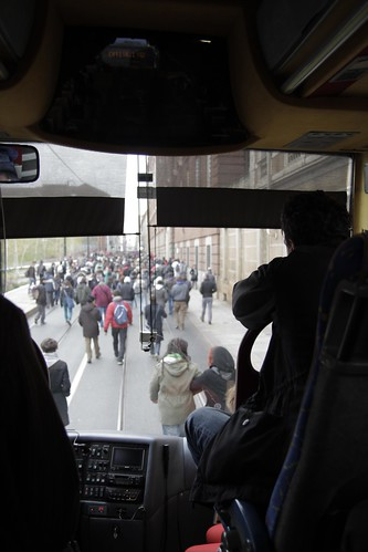 Bus blocked by student protest