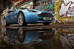 Reflectivity. (Alex Penfold) Tags: camera blue urban london cars alex sports car canon photography graffiti spider photo cool shoot photoshoot shot martin image awesome picture fast convertible tunnel super spyder exotic photograph supercar v8 aston exotica volante vantage supercars roadster penfold shmee 2011 youtube 450d hpyer shmee150