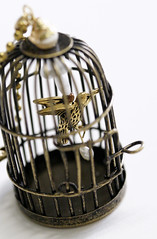 Custom Bird in a Cage Necklace (shaire productions) Tags: original macro bird art birdcage nature animal metal vintage gold design flying necklace wings wire artwork artist natural image handmade metallic unique crafts traditional flight wing arts victorian style cage jewelry pearls wear chain creation wires sparrow copper pearl wearable piece custom brass artisan pendant imagery steampunk sherriethai shaireproductions shaireproductionscom