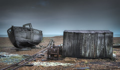Abandoned Dungeness boat (mjohnson8181) Tags: sea abandoned water stone eos boat kent sand pebbles hut 7d dungeness shack hdr urbex
