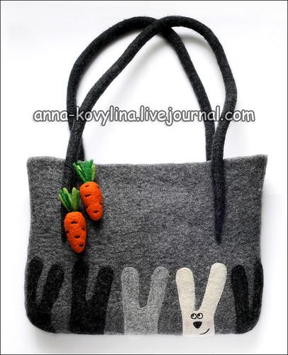 ...зайцы, сумка с зайцами, войлочная сумка, озорная сумка...