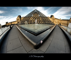 Egyptian Parisian Style (Alexis.D) Tags: sunset paris france angle louvre muse fisheye pyramide hdr bassin samyang