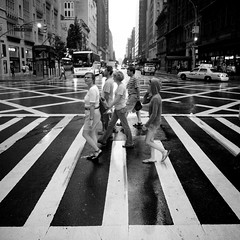 More than Abbey Road (Airicsson) Tags: street new york city nyc summer urban blackandwhite bw usa white ny black rain island lumix us walk manhattan panasonic rainy 2010 streetshot blackwhitephotos lx3