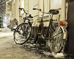 The Frozen Bike (Thomas van Rooij) Tags: lighting street nightphotography winter light cold ice bike bicycle night photography frozen nikon funny fotografie bevroren nacht thomas awesome arnhem scene nikkor drainpipe fiets ijs nachtfotografie straat koud 18105 d90 regenpijp hertogstraat rijwiel rooij thomasvanrooij apartig