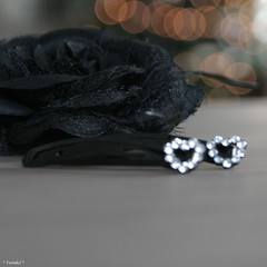 Love (*Twinkel*'s photostream) Tags: black rose hearts bokeh roos nophotoshop zwart kerst i1 hartjes justcropped christmaswear haarknipjes