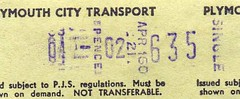 Plymouth City Transport   Setright bus ticket, c.1971. Machine no 160