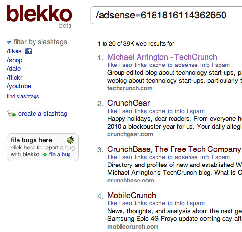 Blekko AdSense Search