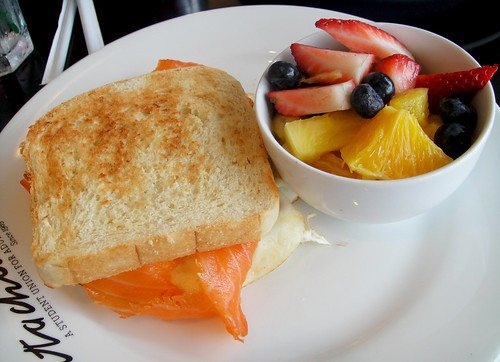 Broken Yolk Sandwich with Smoked Salmon and Fresh Fruit