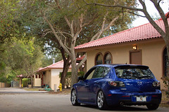 Austin's Mazda3 (AustinYero) Tags: blue car florida low extreme drop clean mazda mazda3 slammed stance coilovers oem spacers