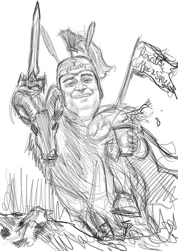 digital caricature of knight - sketch