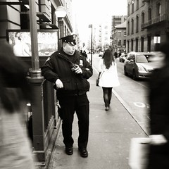 """The Cop Who Felt Suddenly Alone"" (Sion Fullana) Tags: nyc people urban blackandwhite bw newyork blancoynegro square soho citylife streetshots streetphotography nypd squareformat cop characters allrightsreserved walkietalkie newyorkers newyorklife iphone 500x500 peoplewalking urbanshots urbannewyork decisivemoments iphone4 iphonephotography nypdofficer iphoneography iphoneographer sionfullana editedanduploadedoniphone iphonestreetphotography girlwalkingaway throughthelensofaniphone thecopwhofeltsuddenlyalone"