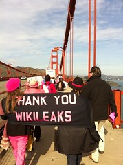 Thank you @wikileaks @codepinkalert on Golden Gate Bridge #wikileaks (Steve Rhodes) Tags: cameraphone sf sanfrancisco california ca mobile moblog december 2010 iphone iphone4 iphonephoto december2010 iphoneography dec2010 iphone4camera iphone4photo