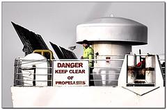 DANGER keep clear of propellers (Michel_Derksen) Tags: ferry danger newcastle ship propellers meeuw stevedoring seagul schip ijmuiden dfds gevaar zeemeeuw princessofnorway stuwadoors