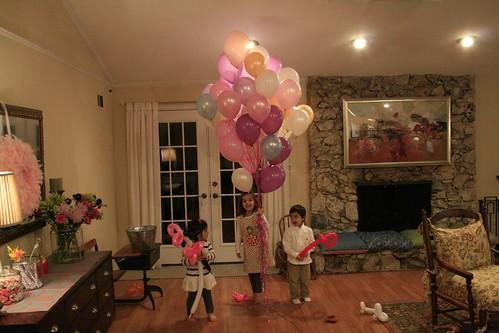 gathering balloons