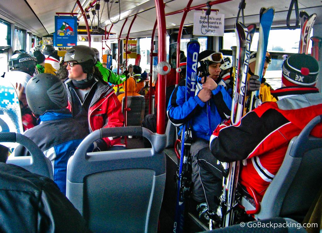 Skiiers on Interlaken bus