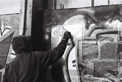 (lissrose) Tags: blackandwhite film 35mm graffiti birmingham factory documentary tags spraycans blackandwhitefilm graffititag
