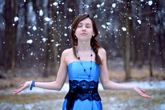 The little sis, Shannon. (crews boy) Tags: blue winter snow ice magic dream dreaming falling float bluedress
