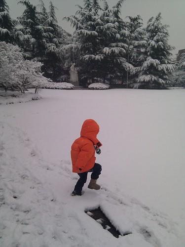 Scott at his kindergarten in the snow