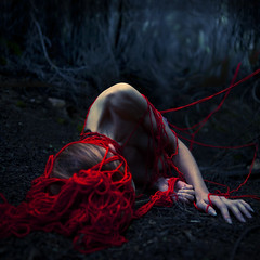 the dangers of being alone (brookeshaden) Tags: red vortex flesh yarn nails cinematic missaniela brookeshaden
