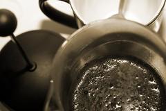 Fresh Coffee (sfryers) Tags: york black hot coffee monochrome sepia 50mm warm drink frenchpress ground filter foam mug brew smc plunger caffiene 117 cafetiere pentaxa