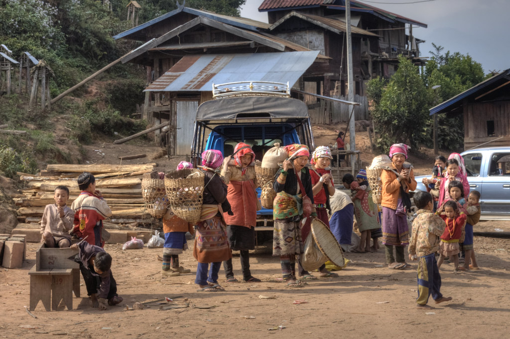 Akhar women returning from market in Luang Nam Tha