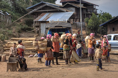 Akhar women returning from market in Luang Nam Tha (Pondspider) Tags: mountains women hill tribes laos hilltribes animism luangnamtha animist anneroberts annecattrell ahkar pondspider