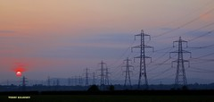Sunrise on Cheshire Transmission towers (Terry Kearney) Tags: transmissiontowers pylons electricity power pollution energy architecture buildings canon culture cheshire chester daylight ellesmereport explore europe fields heritage history kearney landscape merseyside nature oneterry parks april sun sunshine skyline sunset sunrise trees terrykearney urban unesco wirral weather wirralway 2014 shropshireunioncanal sky pylon cable outdoor