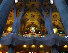 The magnificent interior of the Sagrada Familia cathedral in Barcelona (jackfre 2) Tags: catalunya spain barcelona cathedral sagradafamilia interior stainedglasswindows gaudi antonigaudi