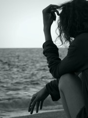 Ele (Schorli_Carla) Tags: blue light shadow sea wild summer people woman seascape art water girl silhouette landscape lumix mujer friend feminine femme young blurred panasonic greece smoker postproduction antisocial pelion wrists allatsea emozioni thessalia tuttialmare riflettere flickrchallengewinner supercontest