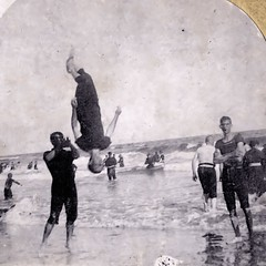 (animated stereo) Backflip at the Beach (early 1900s?) (Thiophene_Guy) Tags: blackandwhite bw history beach water monochrome swim stereogram 3d newjersey surf upsidedown 19thcentury nj floating wave jiggly wiggly stereo atlanticcity stereoview midair animated gif jiggle bathing parallax animatedgif airborne bathingsuit breaker wiggle 1900s backflip suspendedinair circa1900 intotheair derivativeworks stereophotomaker hanginginair motionparallax animatedstereo stereoscopesamusantes beautyseries imagescannedbythiopheneguy