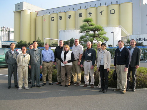 The delegation outside of the Ishinomaki City feed mill