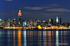 New York (Rafakoy) Tags: park city nyc longexposure blue light sky ny newyork color colour reflection water colors night digital reflections river dark lights pier colours dusk nj late hudsonriver nite hoboken piera afsnikkor18105mmvr nikond7000