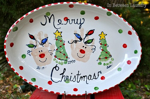 Merry Christmas painted platter