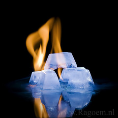 Hot Ice. (Ragoem) Tags: blue cold ice fire warm opposites ijs koud vuur cuijk heet tegenstelling strobist strobistsunday ragoemnl