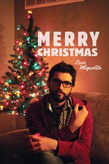 Single Mans Christmas Card (Miguel Draws) Tags: christmas red holiday man tree green love miguel beard lights warm seasons pipe card single mug greetings camilo miguelito