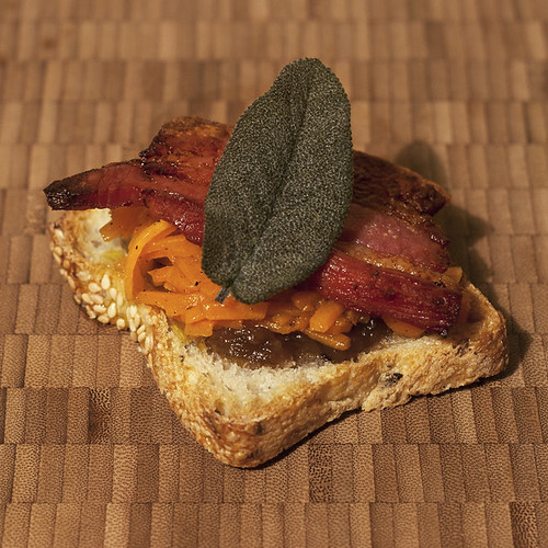 Poitrine Fumée, Caramelized Onion Jam, Pumpkin, and Crispy Sage Tartines