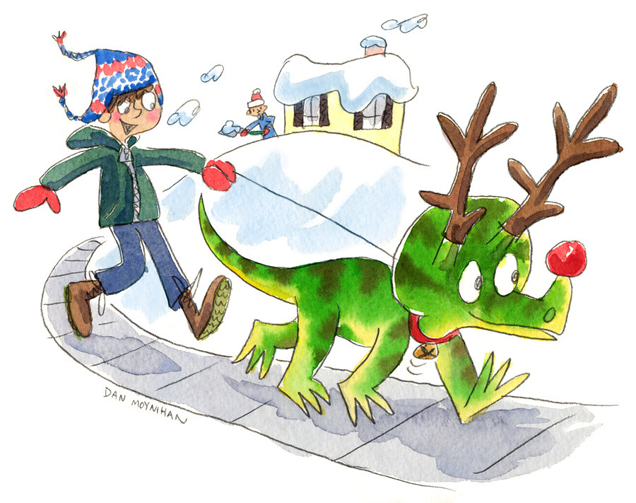 Tricerudolphatops Dan Moynihan Tags Christmas Illustration Watercolor Reindeer Dinosaur Drawing Cartoon Illustrationfriday Prehistoric