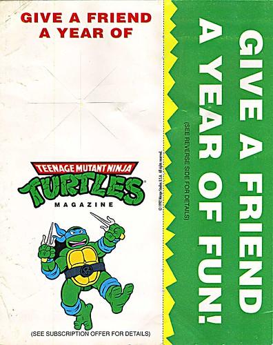 """""""Teenage Mutant Ninja Turtles"""" Magazine - 'GIVE A FRIEND A YEAR OF FUN!' - door hanger ii (( 1992 ))"""