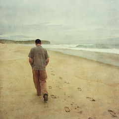 Lost in thought (borealnz) Tags: sea newzealand man texture beach walking square sand shoes waves tide footprints pacificocean nz dunedin footsteps lonely deserted stkilda lostinthought contemplation desertedbeach bsquare flypapertextures borealnz