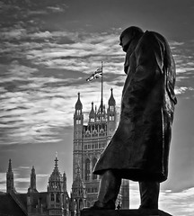 Winston the Great (Sven Loach) Tags: uk england bw london westminster statue canon delete5 delete2 britain delete6 housesofparliament delete3 delete delete4 save churchill government patriotism unionjack winston whitehall primeminister g11 battleofbritain londonist