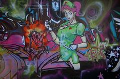 Nurse on call! (kennethkonica) Tags: blue red usa white color green art yellow stars graffiti women purple shot legs vibrant indianapolis caps indiana wallart images hose nurse walls needles reddress redcross nylons higherlevelart infamouswithstyle