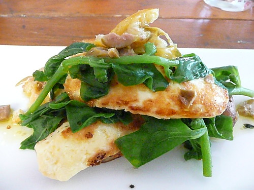 Sprout - grilled olympus haloumi with warrigal greens, green olive and preserved lemons