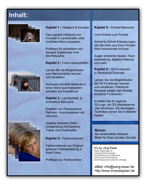 Inhaltsverzeichnung Photoshop-Tutorials-DVD