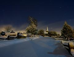 Orion drifts by (Mr Bultitude) Tags: trees ireland cemetry snow tree church graveyard parish night stars long exposure december belfast graves orion northern knockbreda