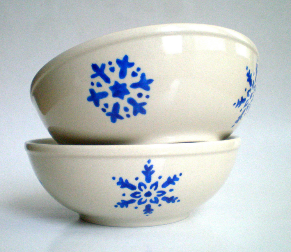 Snowflake Bowl Set- Hand Painted